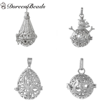 DoreenBeads Silver Tone Copper Wish Box Pendants Teardrop Snowman Hollow Can Open (Fit Bead Size: 18mm), 1 PC