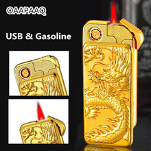 USB Electric And Gasoline Lighter Dual Use Rechargeable Torch Lighter 1300C Windproof Cigarette Turbo Lighter Emboss Gold Gragon(China)
