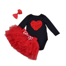 Baby Ruffles Skirts Set New Born Girls Party Dress Heart Appliques Bodysuit Tutu Skirt Headband 3pcs Baby Meisje Clothing Sets(China)