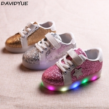 davidyue brand new kids flat causual shoes star gold silver pink color led luminous glow sneakers girls boys lighting shoes
