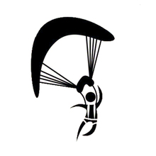 11.5*16.9CM Fashion Solo Paraglider Car Stickers Vinyl Decals Personalized Car Styling Black/Silver C7-0708(China)