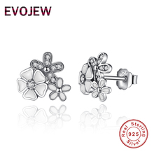 EVOJEW Genuine 925 Sterling Silver White Blooming Daisy Flower Stud Earrings For Women Jewelry Accessories Gift