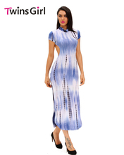 New 2016  Night Club Sexy Open Back Blue Short Sleeve Tie Dye Print Cheongsam Maxi Dress LC60948 party dresses