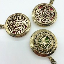 3PCS Vintage Bronze Hollow Tree Of Life Leaf Locket Pendant Fragrance Essential Oil Aromatherapy Diffuser Necklace Jewelry Gifts
