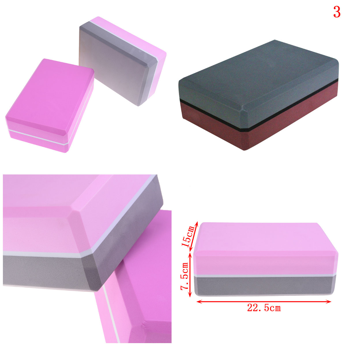 Yoga Block Brick EVA Sports Exercise Gym Foam Workout Stretching Aid Body Shaping Health Training Fitness 6 Color