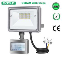 GOSUN 10W LED Flood Light 110V 220V Outdoor Lighting IP66 Waterproof PIR Motion Sensor LED Floodlight Stree Spotlight(China)