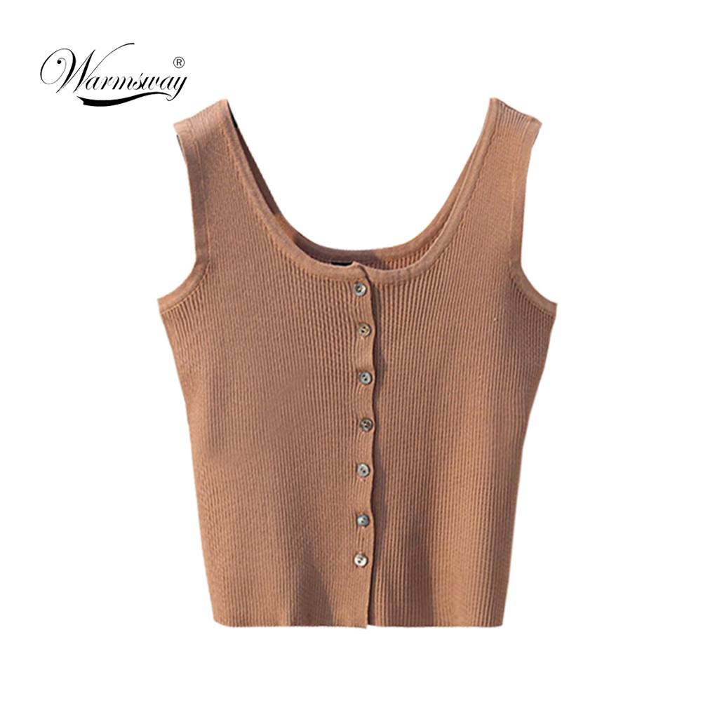 High Quality cropped tank Tops Knit Single-breasted Sleeveless Slim Fashion Women Stretch white black button Casual Tops B-055
