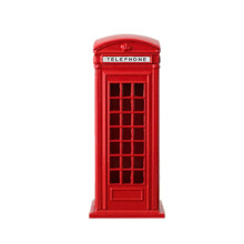 1Pcs Metal Alloy Money Coin Spare Change Piggy London Street Red Telephone Booth Bank Souvenir Model Box