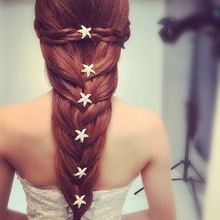 Lackingone 10Pcs Wedding Bridal Bridesmaid Crystal Sea Star Rhinestone Hair Pins Clips Women Hairpins Hair Accessories