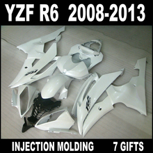 100% fit injection mold for 2008 2009 - 2013 YZF R6 fairings 08 09 10 11 12 13 white black YAMAHA R6 fairing kits 7 gifts FTG65