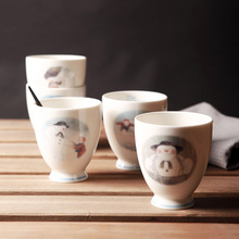 High Quality Small Ceramic Mugs 5 PCS Breakfast Milk Mug Cute Snowman Printed Tea Cups Made In Japan Coffee Cup Wholesale 220ML