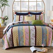 FADFAY Shabby Floral Bed Bedding Sets Country Chic Comforter Sets Blue And Pink Quilt Set Queen Size Cotton 3Pcs Bedding Sets