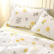 Pastoral yellow flower bedding set girl,cotton twin full queen king single double home textile bed sheet pillow case duvet cover(China)