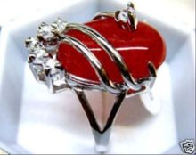 beautiful & charmming red jades ring 18KGP(#7 8 9)