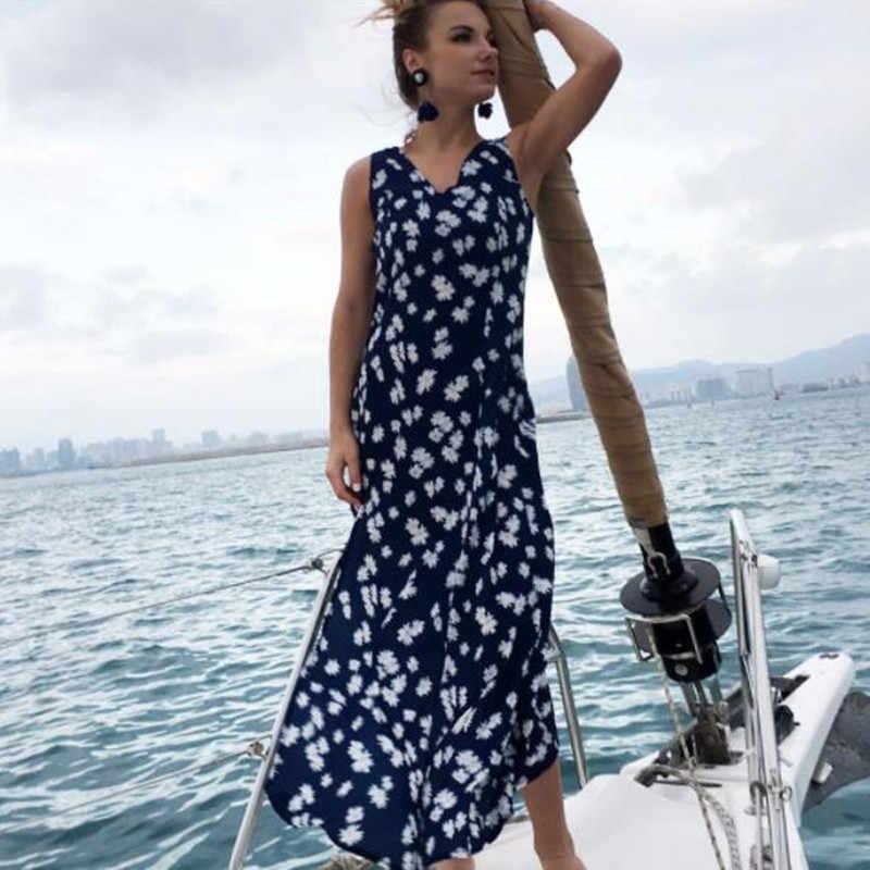 41919711a42 summer printed dress women tunic boho beach plus size long maxi dress robe  femme sleeveless ladies