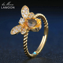 LAMOON Bee Natural Oval Citrine 925 Sterling Silver Jewelry Wedding Ring with 14K Gold Plated S925 Women Party Ring Fine Jewelry