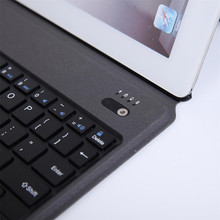 Ultra Thin Light Bluetooth Keyboard with Leather Case for iPad2/3/4(China)