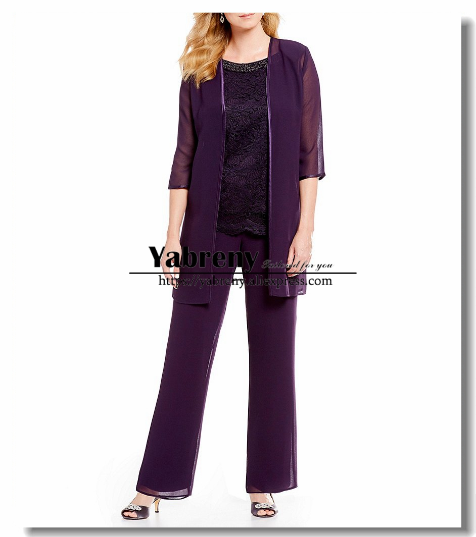 Purple 3 Pieces Mother of the bride Trousers set Chiffon Beaded Neck pants outfit Elastic waist