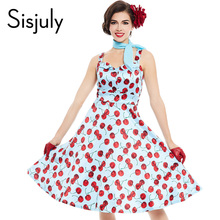 Buy Sisjuly vintage dress pin floral print cherry rockabilly sleeveless mini summer women party dress 1950s fashion vintage dress for $15.80 in AliExpress store