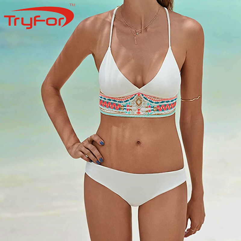 TryFor Brand Newest Design Women White And Black Sling Tropical Style Swimsuit Sexy Low Waist Swimwear 122-D841<br>
