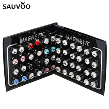 Sauvoo Magnetic Earring Stud Stainless Steel Metal Clear Crystal Rhinestone Round Earrings Sets Men Women Ear Jewelry Gifts(China)