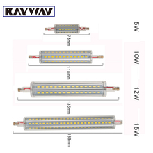 Rayway dimmable 10W r7s led 118mm 360degree 5W 78mm lampadas led r7s bulb 12W 135mm 15W 189mm replace halogen lamp glass cover(China)
