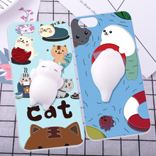 For iPhone 5 5S SE 5C Phone Case Squishy Finger Pinch 3D Cute Cat Seal Silicone Phone Cover Shell Coque For Apple iPod Touch 6
