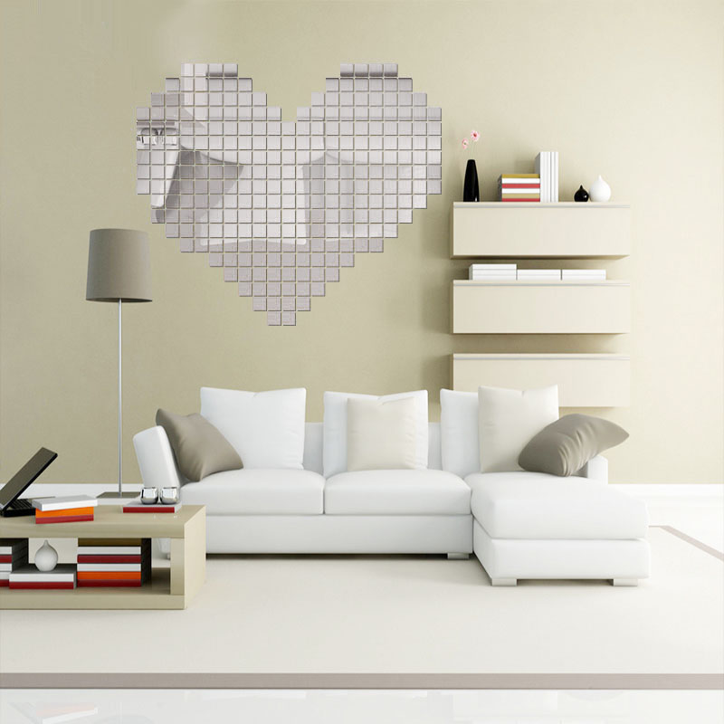 100pcs Acrylic DIY 3D Wall Sticker Bling Mosaic Mirror Heart Removable Decal For Sofa Living Room Home Decoration Mayitr