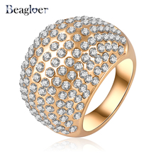 Beagloer Shiny Costume Jewelry Rings Gold Color Austrian Crystal SWA Element Exaggerated Ring 28*14mm Ri-HQ0248