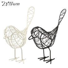 1Pcs Cute Vintage Metal Craft Wire Iron Bird Model Decorative Ornament Home Living Room Office Desktop Decoration Craft Gift(China)