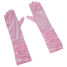 Hot Pink Pleat Satin Long Gloves