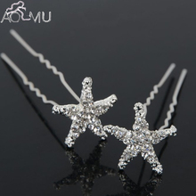 AOMU 20 pcs/lot Wedding Bridal Bridesmaid Crystal Sea Star Rhinestone Hair Pins Women Hair Clips Hairpins Hair Accessories Tiara(China)