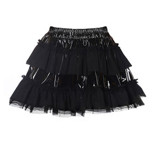 2017 New Brand Sexy PVC Lingerie Clubwear Puffy Skirts for Women Faux Leather Short Skirt Splice Skirt