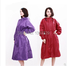 Japanese Style burberry_ womens Long Raincoats Red Thickening Printing Trench Woman Long Rain Jacket Waterproof Girls Clothes(China)