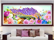 5D Diy Diamond Painting Peacock peony flower Cross Stitch Diamond Embroidery Crystal Round Diamond Mosaic Pictures Home Decor(China)