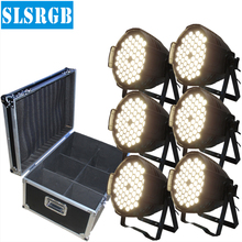 6pcs/lot&flight case Stage Par King 54pcs 3w warm white led light par 64 54x3w Single Cool/Warm White/ Amber LED Par 64 Lighting