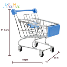 Mini Trolley Supermarket Simulation Toys Shopping Cart Storage box Creative Novelty Birthday Gift Cellphone Holder Kid Baby Toys