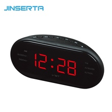 JINSERTA LED Digital Radio With Blue Red Backlight Alarm clock AM FM Radio Electronic Home Table Clock radio