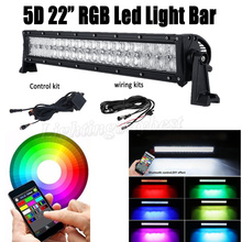 22INCH 120W LED RGB Straight Work Light Bar Combo For 5D CREE chips Offroad ATV SUV Driving Car Lamp 4X4 Bluetooth Music Flash