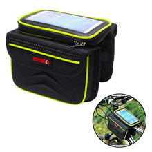 Buy Waterproof Cycling Front Tube Frame Bag Touch Screen Pannier Bicycle Double Phone Pouch 5.5 Inch Cellphone Fluorescent Green for $16.04 in AliExpress store