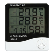 Digital LCD Clock Thermometer Hygrometer Electronic Temperature Humidity Meter  Indoor Outdoor Home Weather Station