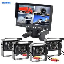 DIYSECUR 7 inch 4 Split QUAD Rear View Monitor Car Monitor + 4 x CCD IR Night Vision Rear View Camera Waterproof for Truck Bus(China)