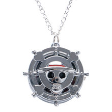 Cool One Piece Theme Skull Bone Pocket Watch with Sliver Necklace Chain for Children Best Gift(China)