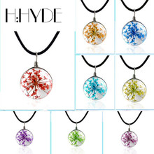 H:HYDE Hand Dandelion Sky stars Dried Flowers Necklace Glass Ball Time Gem Pendants 18 Colors For DIY Women Girls Party Jewelry