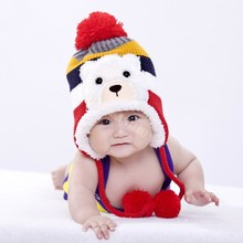 Colorful Crochet Baby Hat Stripe Pattern Cartoon Bear Design Thicken Kids Winter Caps Baby Warm Hats