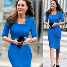 Free Ship Great Quality Princess Kate Dress Office Lady Dress Summer 2014 Dresses For Women Short Sleeve Plus Size Bodycon D53