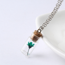 2018 Fashion Women Jewelry Pendant Glass Necklace Dry Flowers Plants Pendant Wishing Bottle Necklaces Gift Personality NS2230(China)