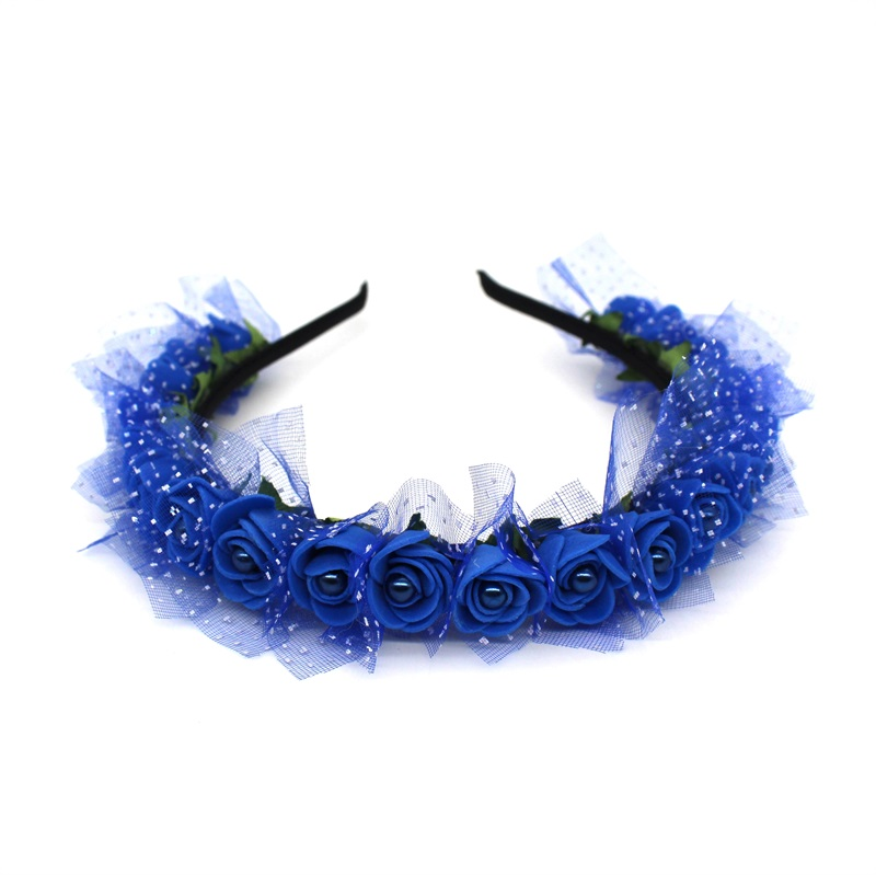 Lanxxy 17 New Fashion Pearl Flowers Hairbands for Girls Women Wedding Bridal Hair Accessories Floral Headbands 4