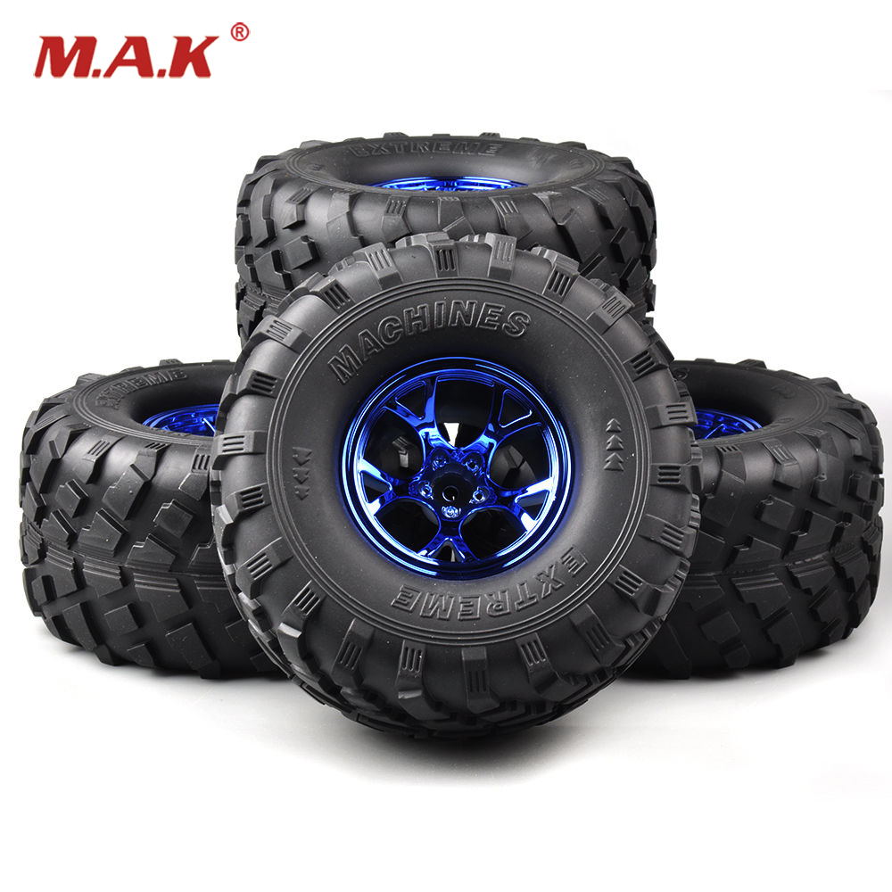 Truck Rubber Tires&amp;Wheel Rims 4 PCS/Set 1/10 Tractor Trailer Climbing Car Rubber Tires for HSP HPI RC 1:10 Bigfoot Truck<br>