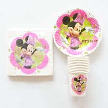 40pcs/lot Cartoon Minnie Tableware Set Paper Plate+Paper Cup+Paper Napkin Birthday Party Set Happy Birthday Party Decor Supplies(China)